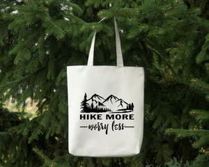 Hike More Worry Less white cotton canvas tote bag by Modern Trail