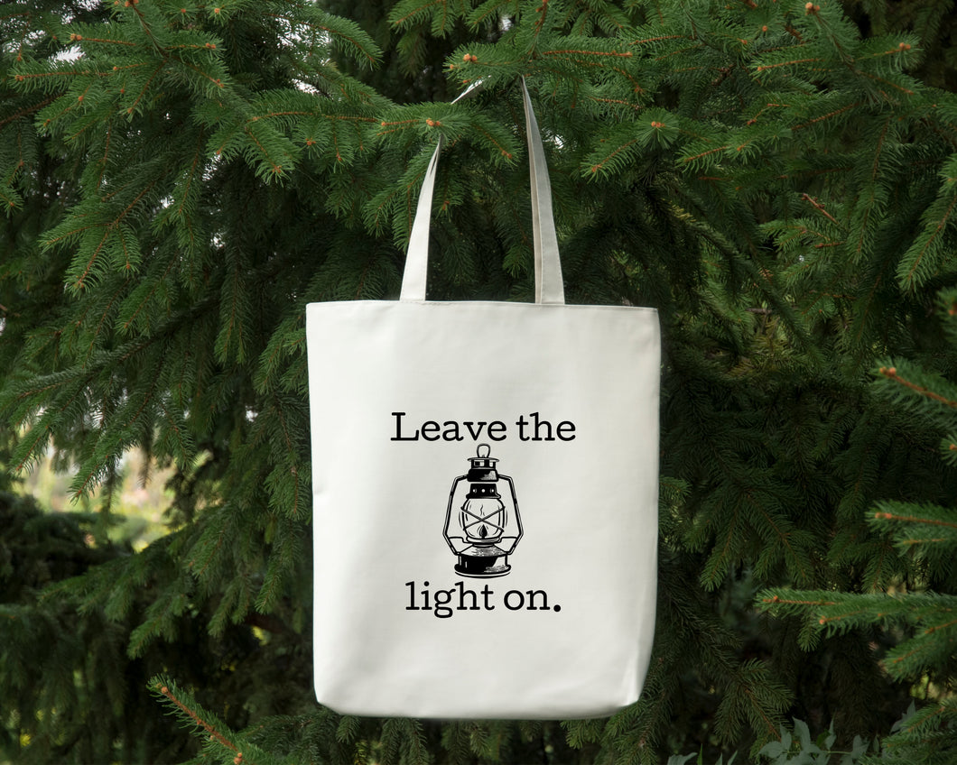 Leave the Light On white cotton canvas tote bag by Modern Trail