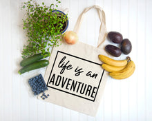 Load image into Gallery viewer, Life is an Adventure natural canvas tote bag by Modern Trail
