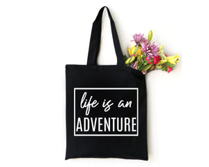 Life is an Adventure black canvas tote bag by Modern Trail