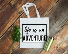 Load image into Gallery viewer, Life is an Adventure white canvas tote bag by Modern Trail