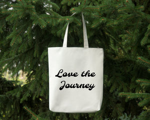 Love the Journey reusable cotton canvas white tote bag by Modern Trail