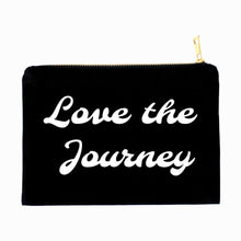 Load image into Gallery viewer, Love the Journey boho black cotton canvas zippered cosmetic makeup bag from Modern Trail