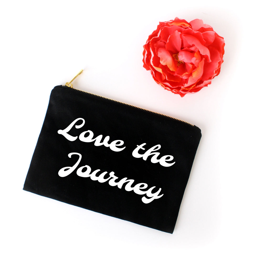 Love the Journey boho black cotton canvas zippered cosmetic makeup bag from Modern Trail