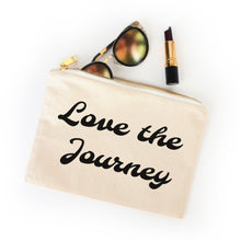Load image into Gallery viewer, Love the Journey boho natural cotton canvas zippered cosmetic makeup bag from Modern Trail