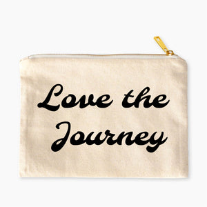Love the Journey boho natural cotton canvas zippered cosmetic makeup bag from Modern Trail