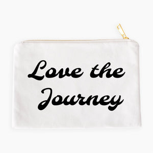 Love the Journey boho white cotton canvas zippered cosmetic makeup bag from Modern Trail
