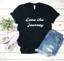 Load image into Gallery viewer, Love the Journey boho black tee shirt