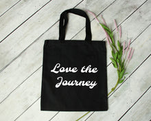 Load image into Gallery viewer, Love the Journey reusable cotton canvas black tote bag by Modern Trail
