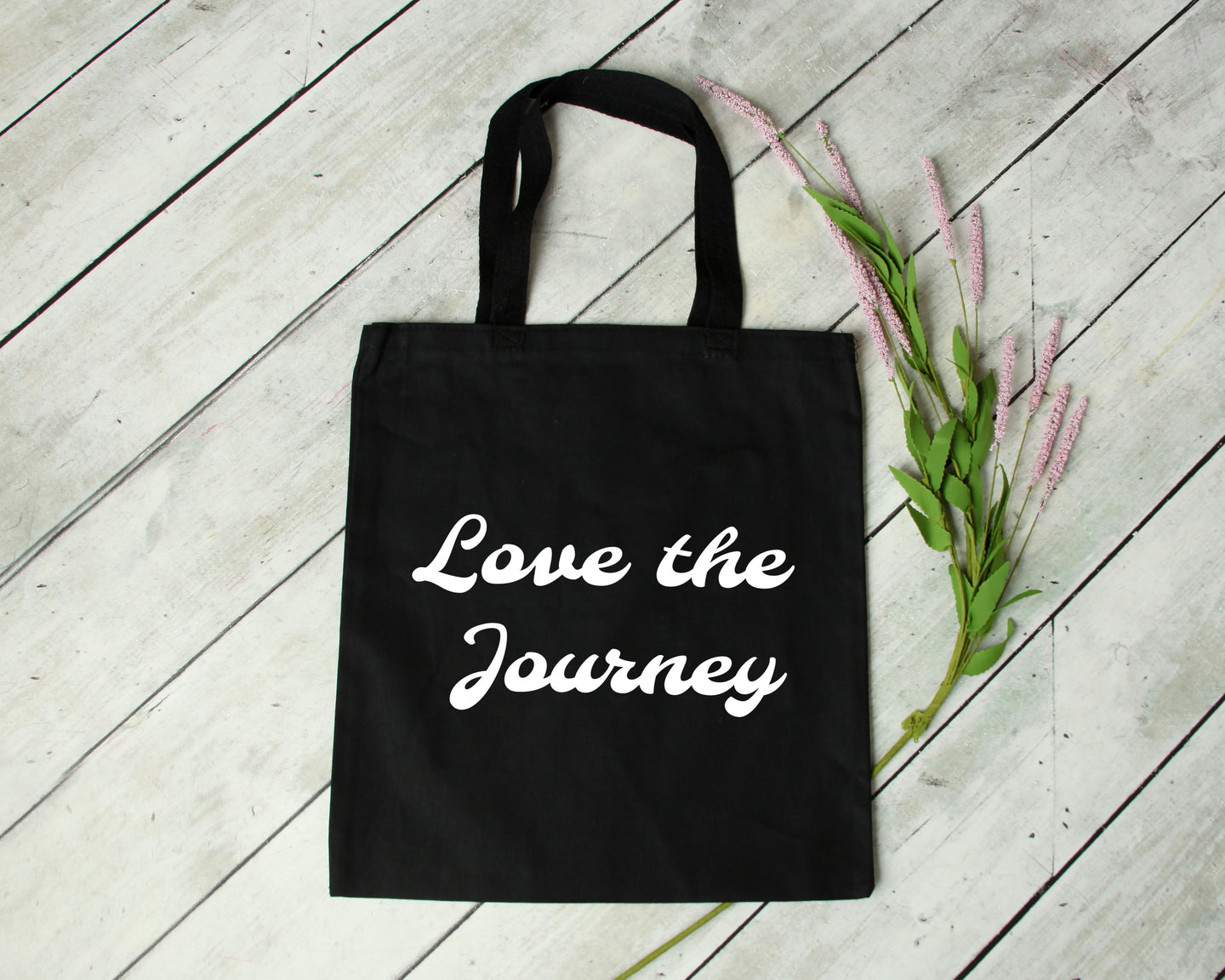 Love the Journey reusable cotton canvas black tote bag by Modern Trail
