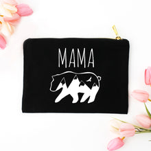 Load image into Gallery viewer, Mama Bear black cotton canvas zippered cosmetic makeup bag from Modern Trail