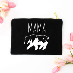 Mama Bear black cotton canvas zippered cosmetic makeup bag from Modern Trail