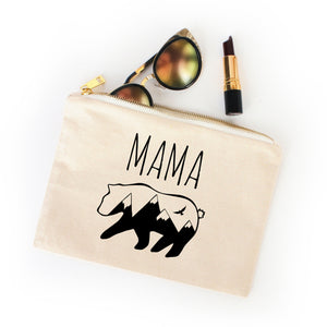 Mama Bear natural cotton canvas zippered cosmetic makeup bag from Modern Trail