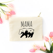 Load image into Gallery viewer, Mama Bear natural cotton canvas zippered cosmetic makeup bag from Modern Trail