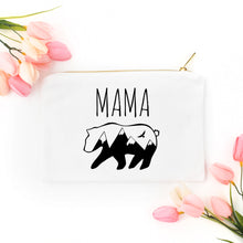 Load image into Gallery viewer, Mama Bear white cotton canvas zippered cosmetic makeup bag from Modern Trail