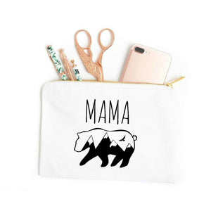 Mama Bear white cotton canvas zippered cosmetic makeup bag from Modern Trail
