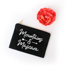 Load image into Gallery viewer, Mountains & Mascara black cotton canvas zippered cosmetic makeup bag from Modern Trail