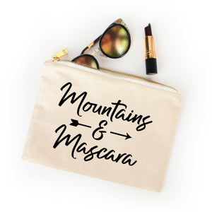 Mountains & Mascara natural cotton canvas zippered cosmetic makeup bag from Modern Trail