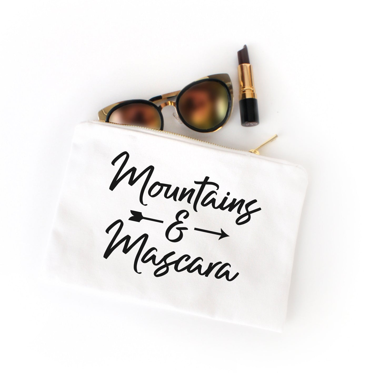 Mountains & Mascara white cotton canvas zippered cosmetic makeup bag from Modern Trail