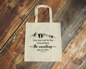 The Mountains Are in You natural cotton canvas tote bag | Modern Trail