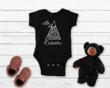 Load image into Gallery viewer, Outsider black infant onesie