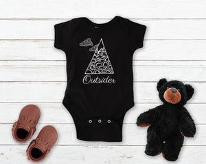 Outsider black infant onesie