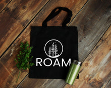 Load image into Gallery viewer, Roam black cotton canvas tote bag | Modern Trail