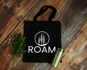 Roam black cotton canvas tote bag | Modern Trail