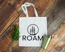 Load image into Gallery viewer, Roam white cotton canvas tote bag | Modern Trail