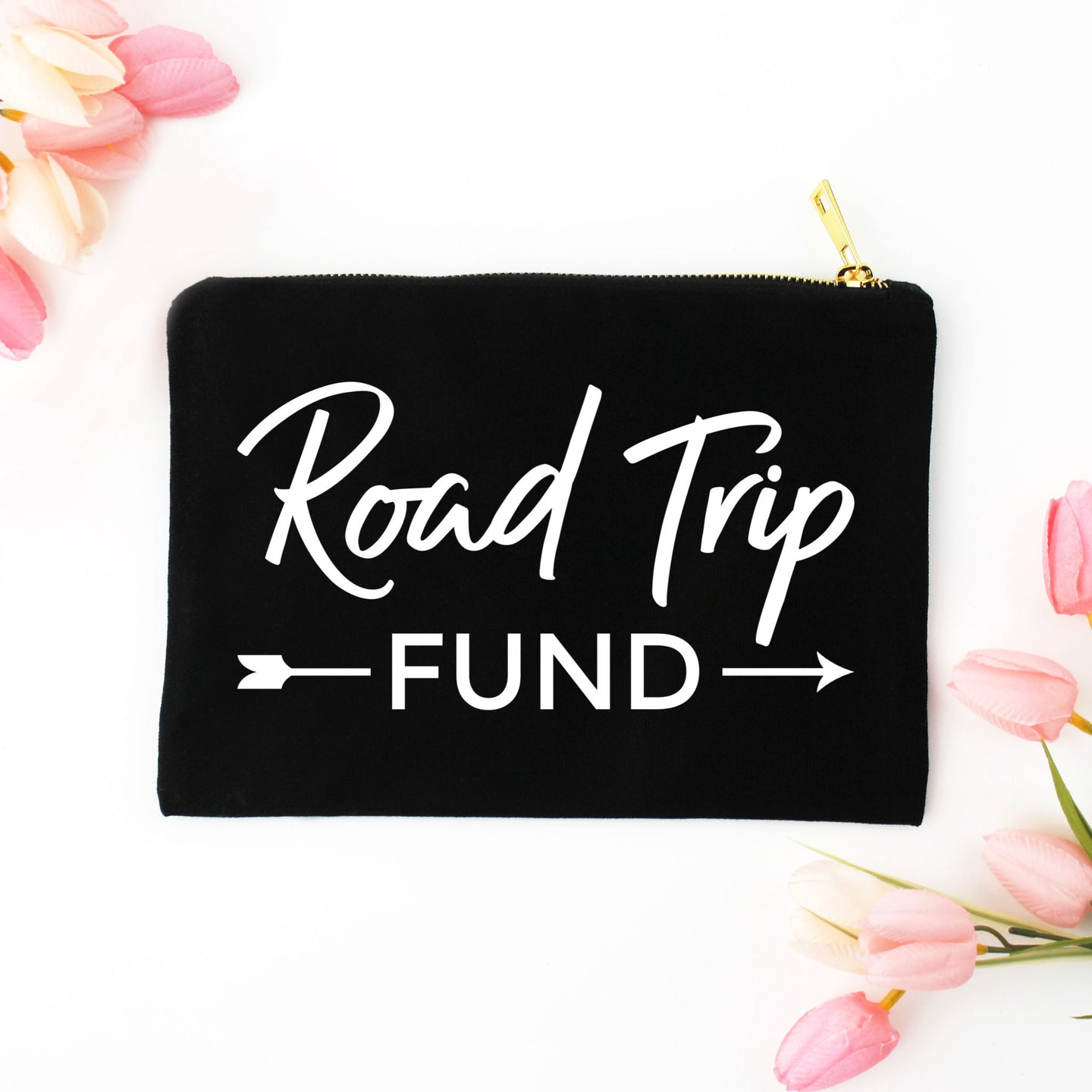 Road Trip Fund black cotton canvas zippered cosmetic makeup bag from Modern Trail