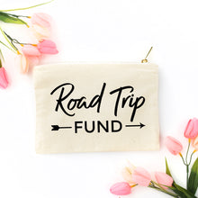 Load image into Gallery viewer, Road Trip Fund natural cotton canvas zippered cosmetic makeup bag from Modern Trail