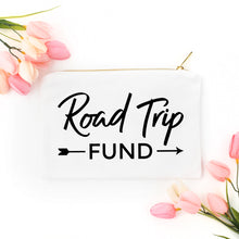 Load image into Gallery viewer, Road Trip Fund white cotton canvas zippered cosmetic makeup bag from Modern Trail