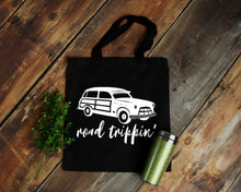 Load image into Gallery viewer, Road Trippin' black cotton canvas tote bag | Modern Trail