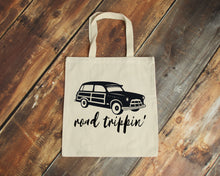 Load image into Gallery viewer, Road Trippin' natural cotton canvas tote bag | Modern Trail