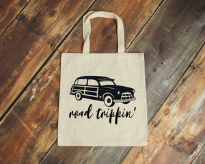 Road Trippin' natural cotton canvas tote bag | Modern Trail