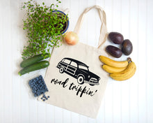 Load image into Gallery viewer, Road Trippin' white cotton canvas tote bag by Modern Trail