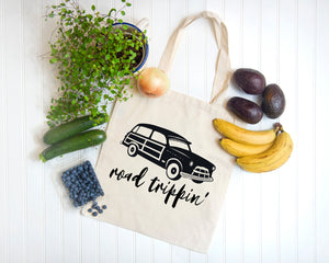 Road Trippin' white cotton canvas tote bag by Modern Trail