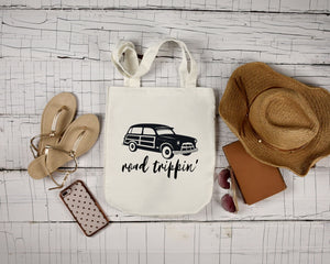 Road Trippin' white cotton canvas bag by Modern Trail