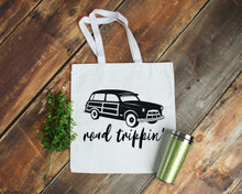 Load image into Gallery viewer, Road Trippin' white cotton canvas tote bag | Modern Trail