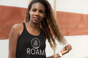 Roam black adventure tank top on woman of color