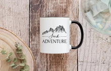 Load image into Gallery viewer, Seek Adventure Coffee Mug 11 oz. White and Black | Modern Trail