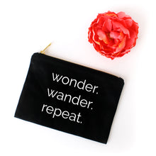 Load image into Gallery viewer, Wonder Wander Repeat black cotton canvas zippered cosmetic makeup bag from Modern Trail