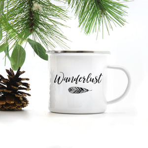 Wanderlust stainless steel camp mug 10 oz.  | Modern Trail