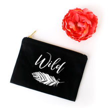 Load image into Gallery viewer, Wild boho black cotton canvas zippered cosmetic makeup bag from Modern Trail