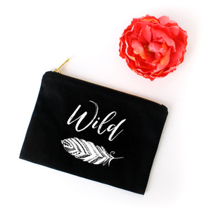 Wild boho black cotton canvas zippered cosmetic makeup bag from Modern Trail