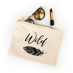 Wild boho natural cotton canvas zippered cosmetic makeup bag from Modern Trail