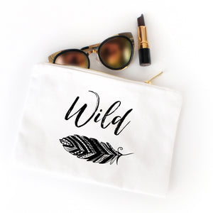 Wild boho white cotton canvas zippered cosmetic makeup bag from Modern Trail