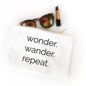 Wonder Wander Repeat white cotton canvas zippered cosmetic makeup bag from Modern Trail