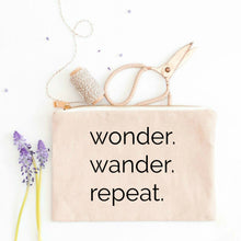 Load image into Gallery viewer, Wonder Wander Repeat natural cotton canvas zippered cosmetic makeup bag from Modern Trail