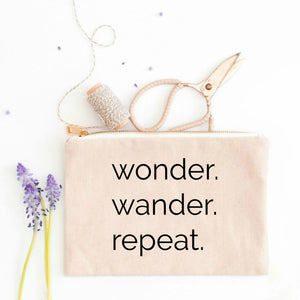 Wonder Wander Repeat natural cotton canvas zippered cosmetic makeup bag from Modern Trail